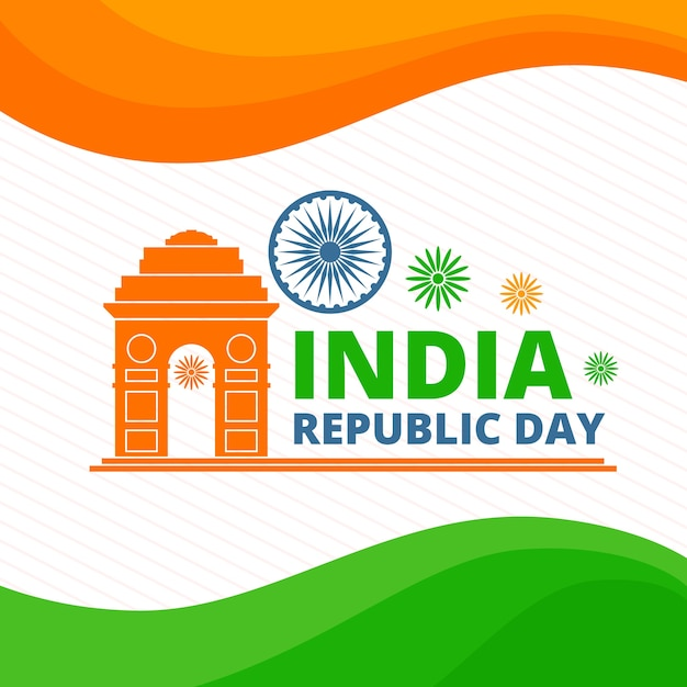 Indian republic day with indian flag Free Vector