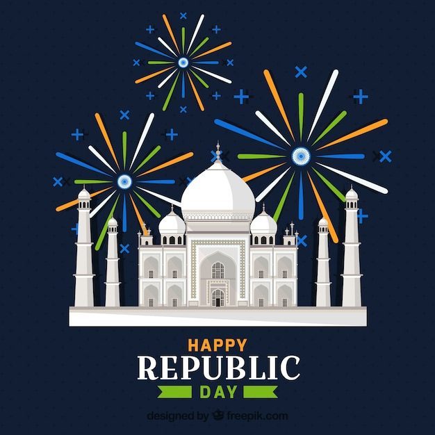 Indian republic day with taj mahal Free Vector