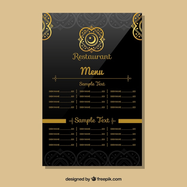 Indian Restaurant Menu Template Vector Free Download