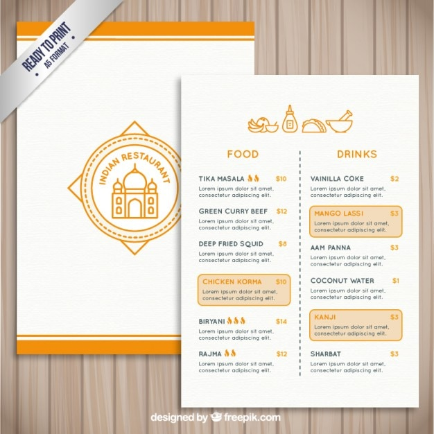 Indian Restaurant Template Vector Free Download