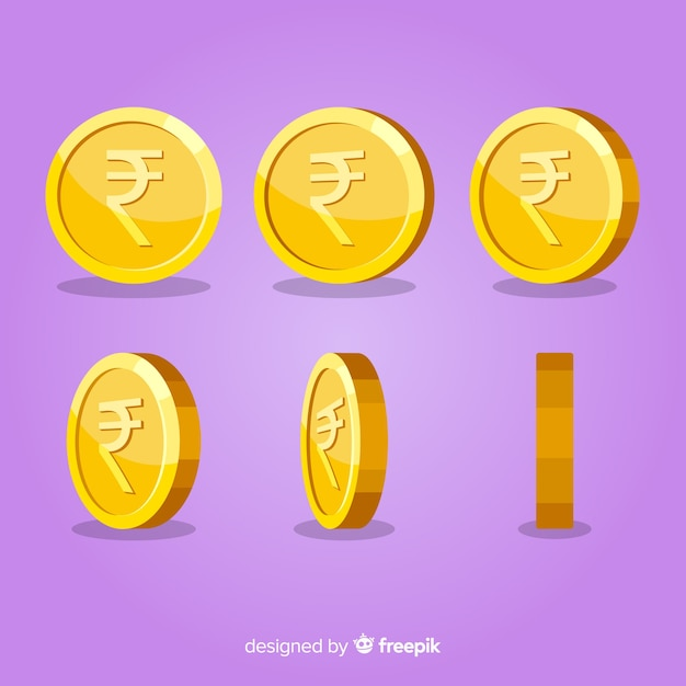 Indian rupee coin set Free Vector