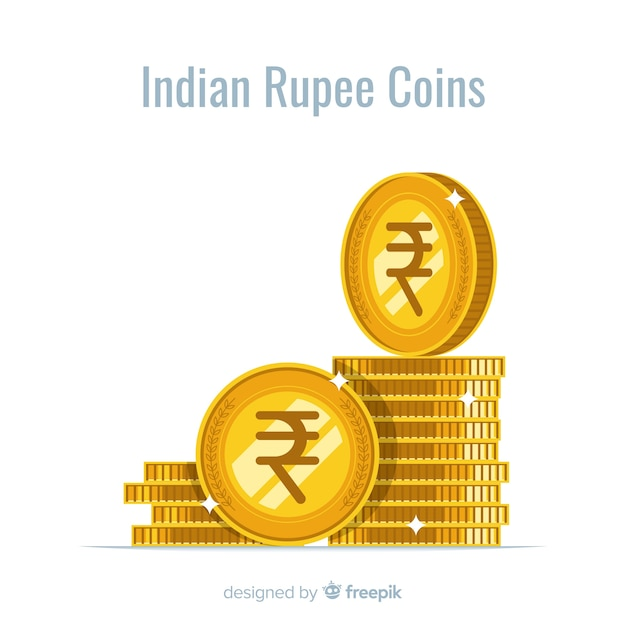 Indian rupee coins stack Free Vector