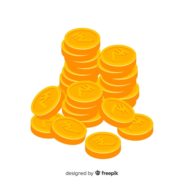 Indian rupee gold coin stack Free Vector