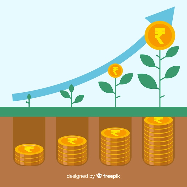Indian rupee investment concept Free Vector