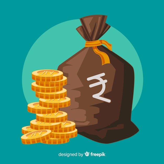 Indian rupee money bag Free Vector