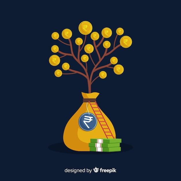 Indian rupee tree Free Vector