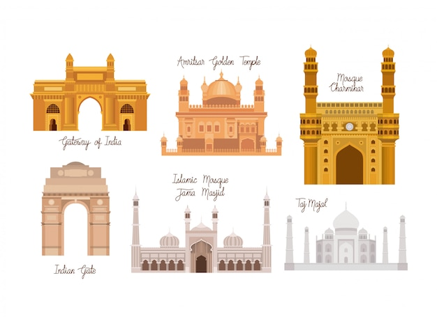 Indian set temples architecture Free Vector