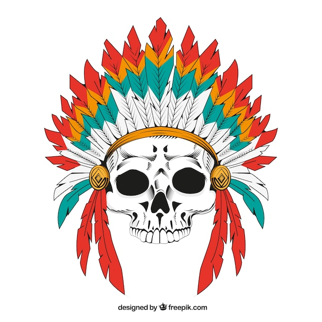 indian skull background with feathers vector free download