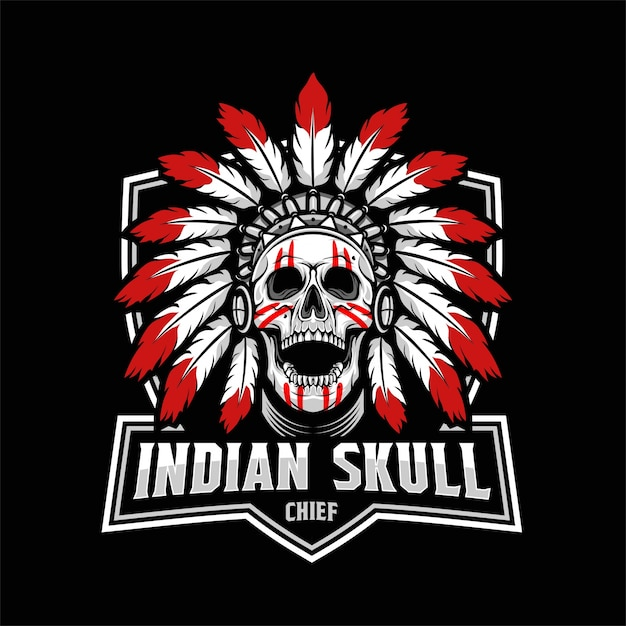 indian skull chief vector premium download