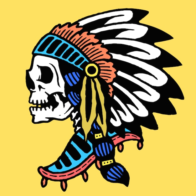 Indian skull old school tattoo vector Premium Vector