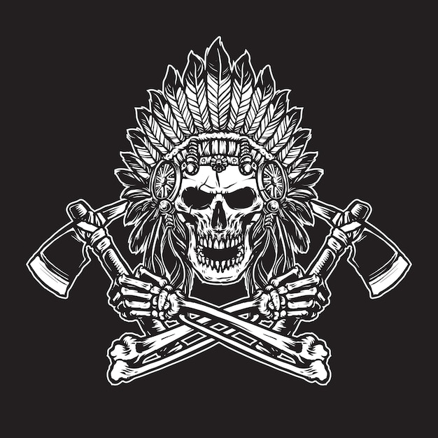 Indian skull with headdress  feather accessories holding axes line art black and white Premium Vector