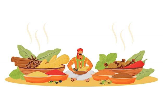 インドのスパイスショップフラットの概念図。蓮華座に座っている男、調味料ベンダーの2d漫画のキャラクターをwebデザイン。伝統的な飲み物と食品添加物の独創的なアイデア Premiumベクター