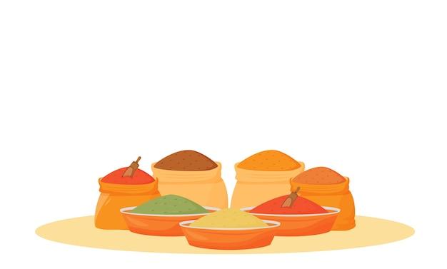 インドのスパイスの品揃えの漫画イラスト。ボウルやサックの伝統的なフレーバーフラットカラーオブジェクト。白い背景で隔離の調理器具、食材、調味料 Premiumベクター