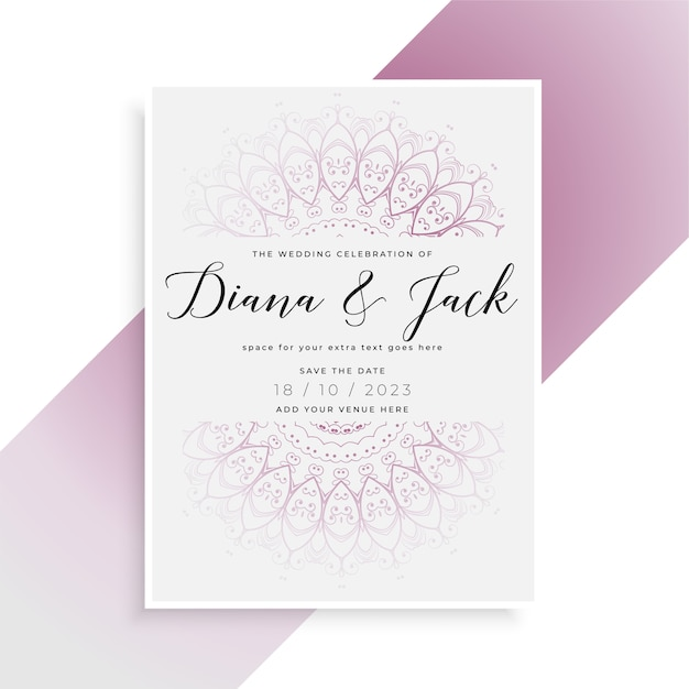 Indian style wedding card template design Free Vector