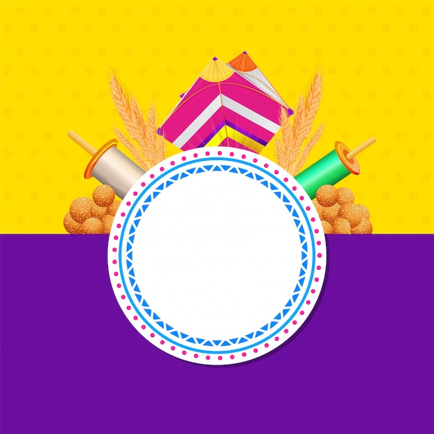 Indian sweet (laddu) with kite, string spool, wheat ear and empty circular frame given for your message on yellow and purple  for happy makar sankranti. Premium Vector
