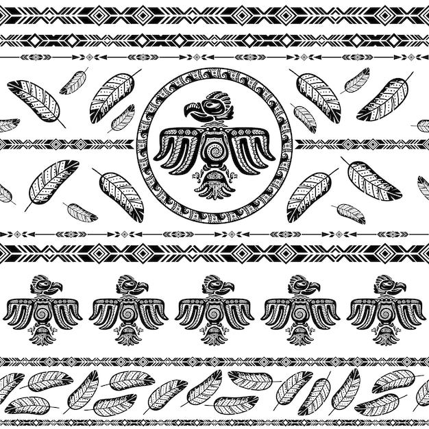 Indian tribal pattern background Free Vector