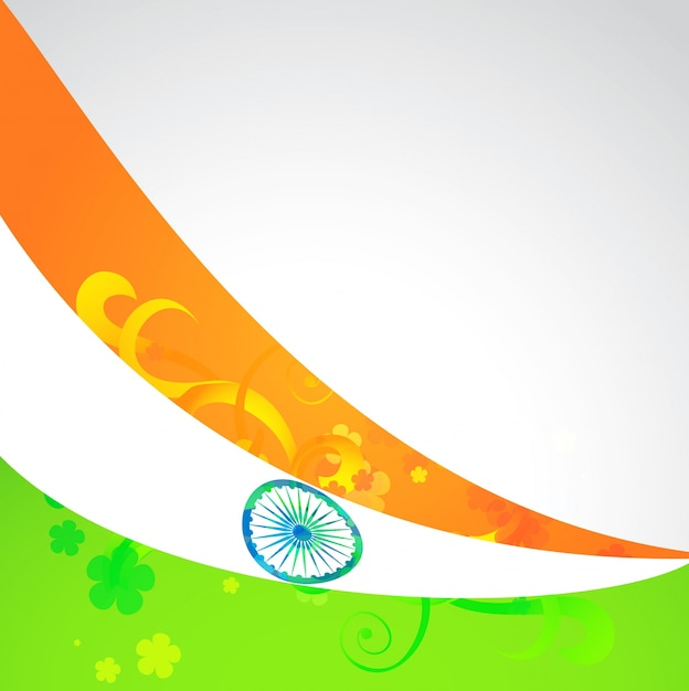 Indian vector flag in wave style