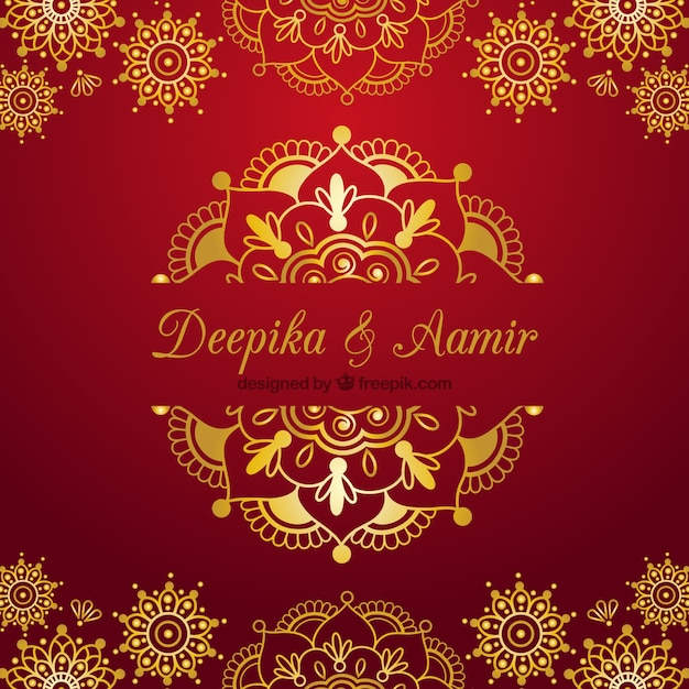 Indian Wedding Card On A Red Background Vector Free Download