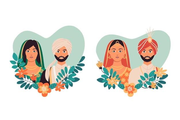 Индийская свадебная коллекция персонажей Бесплатные векторы