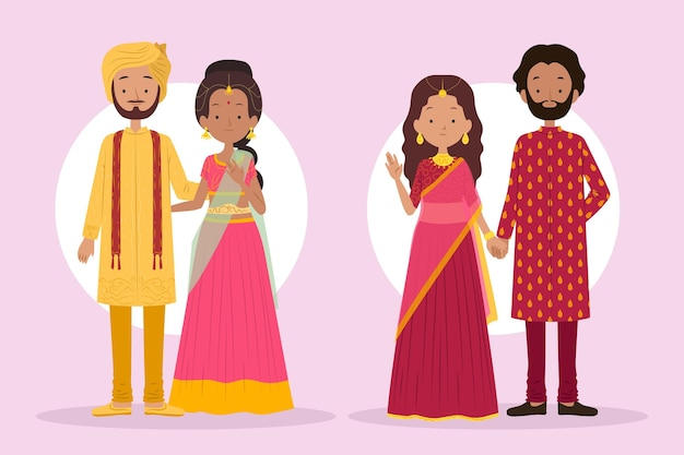 Indian wedding character collection Free Vector