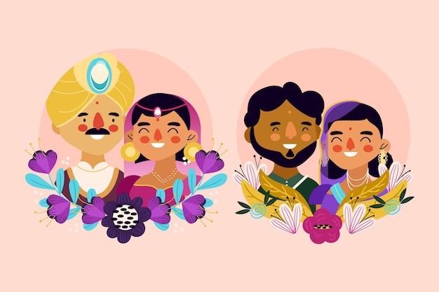 Коллекция индийских свадебных персонажей Бесплатные векторы