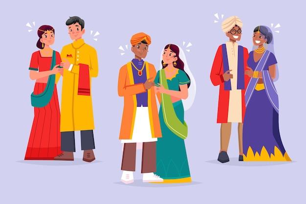 Коллекция индийских свадебных персонажей Premium векторы
