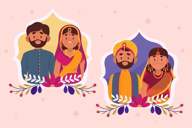 インドの結婚式のキャラクターコレクション 無料ベクター