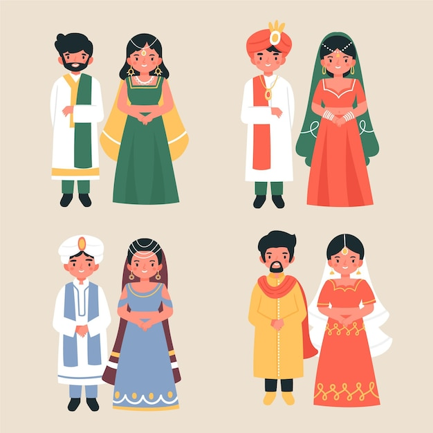 Indian wedding character pack Free Vector