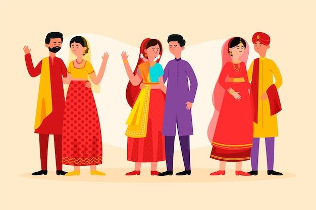 Индийский свадебный набор символов Бесплатные векторы