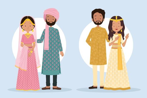 Indian wedding character set Free Vector