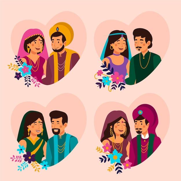 Набор индийских свадебных персонажей Бесплатные векторы