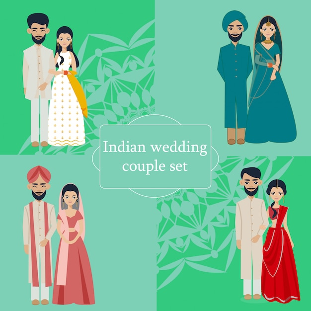 Indian wedding couples collection Premium Vector