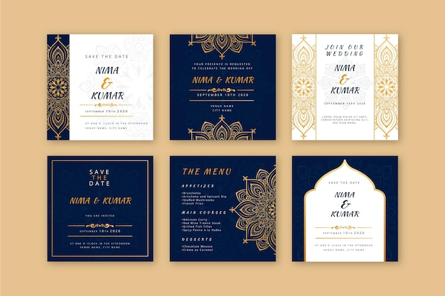 Indian wedding instagram post collection Free Vector