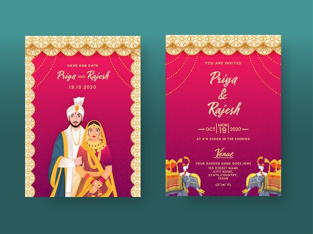 Indian wedding invitation card in mandala pattern with couple character and venue details. Premium Vector