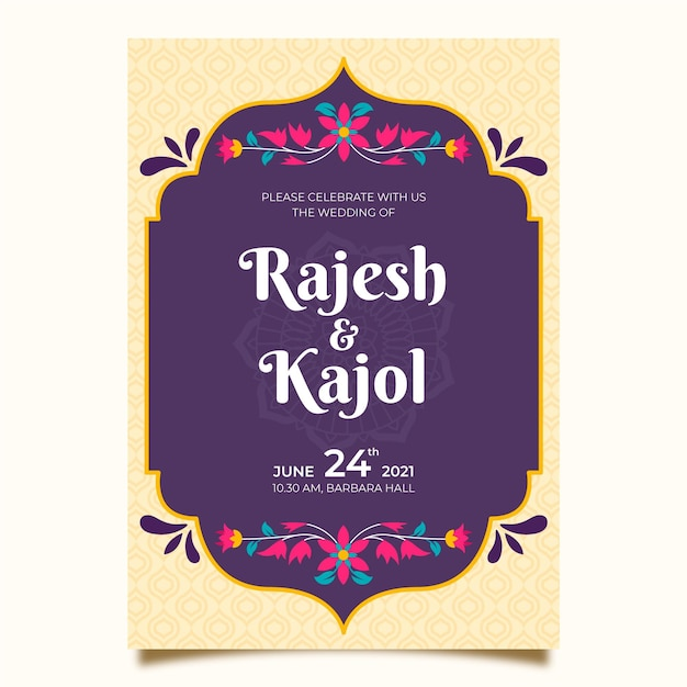 Indian wedding invitation template Premium Vector
