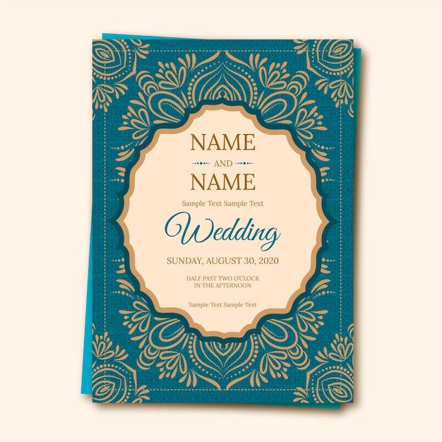 Indian wedding invitation template Free Vector