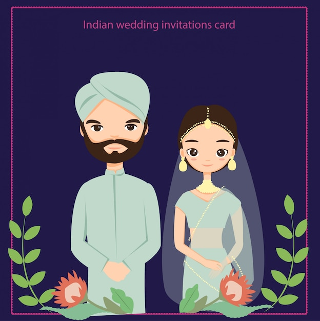 Indian Wedding Invitations Card Vector Isolated With
