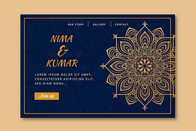 Indian wedding landing page template Free Vector