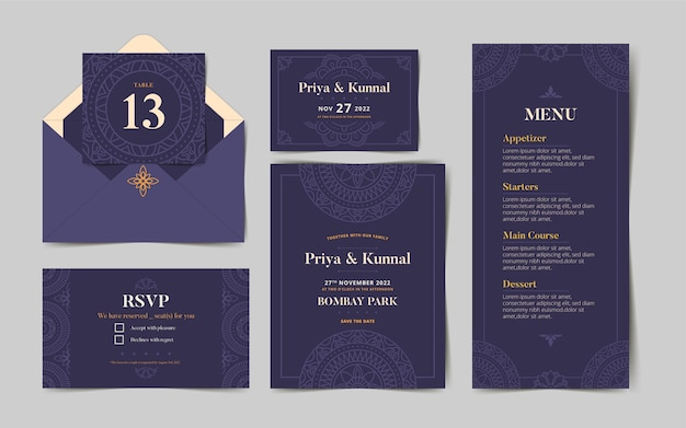 Indian wedding stationery collection Free Vector