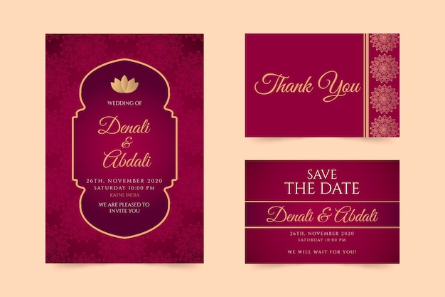 Indian wedding stationery concept Free Vector