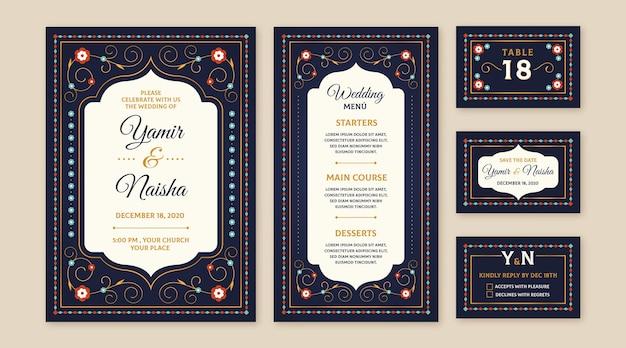 インドの結婚式の文房具デザイン 無料ベクター