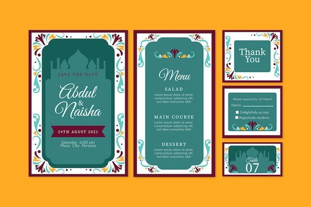 Indian wedding stationery pack Free Vector