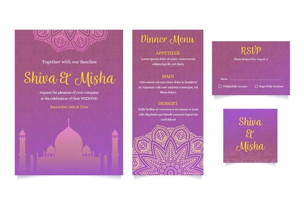 Индийский свадебный набор канцелярских товаров Бесплатные векторы
