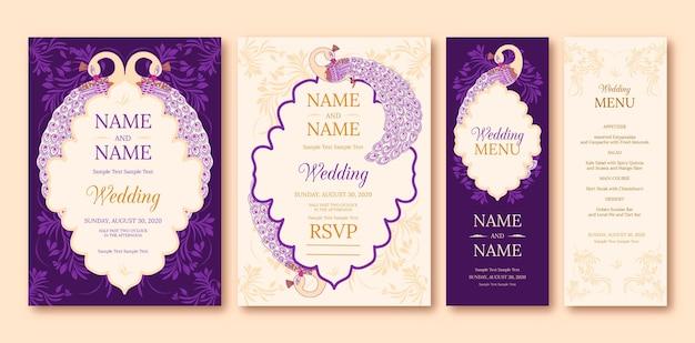 Indian wedding stationery set Free Vector