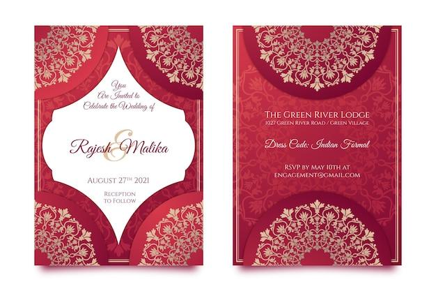 Set di cancelleria matrimonio indiano Vettore gratuito