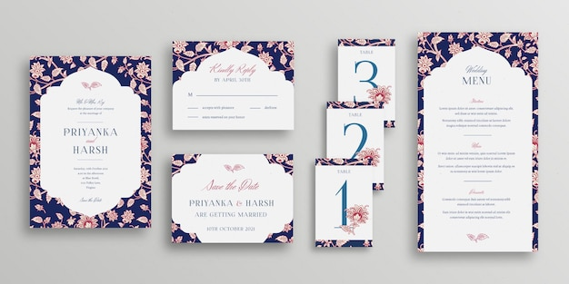 Indian wedding stationery template Free Vector