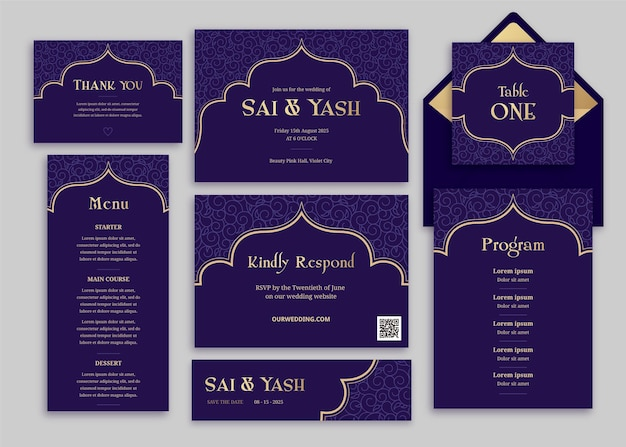 Indian wedding stationery Free Vector