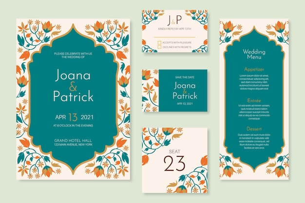 Indian wedding template Free Vector