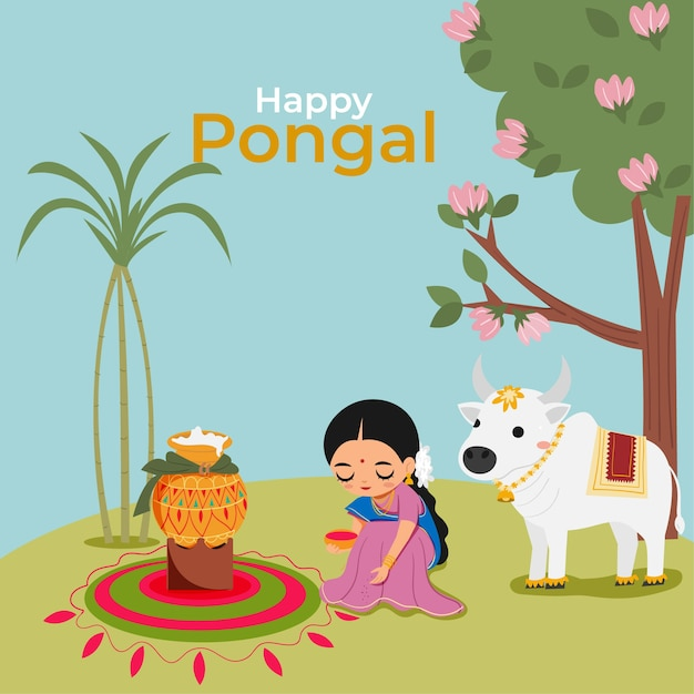 Indian woman and cow with pongal rice for happy pongal festival Premium Vector