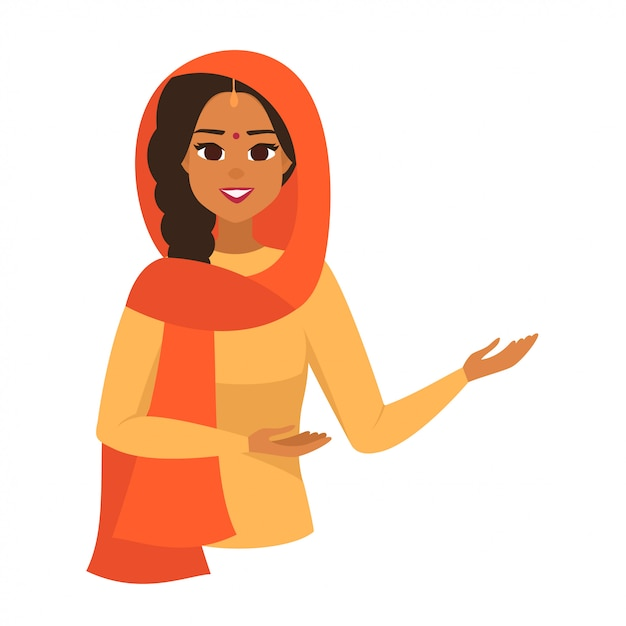 Indian woman presenting something with two hands Premium Vector